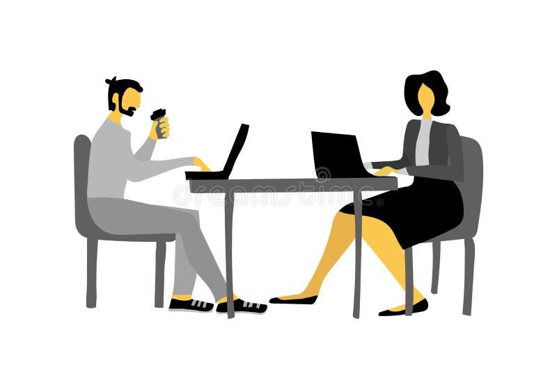 商人和女实业家导航报纸网站横幅的例证 男人和妇女在办公室 库存例证