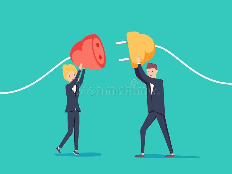 商人和女实业家往彼此的拉扯插座 商务联系概念 向量例证