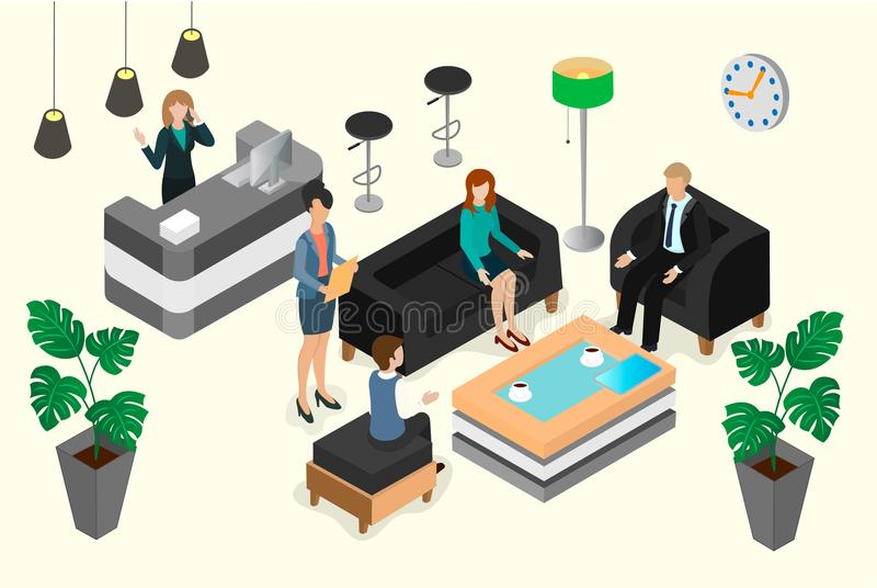 商人和女实业家的会议和交涉的 库存例证