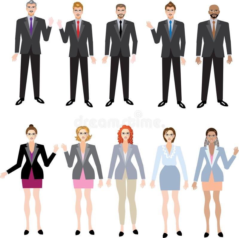 商人和女实业家集合,多种族行政经理-传染媒介例证 库存图片