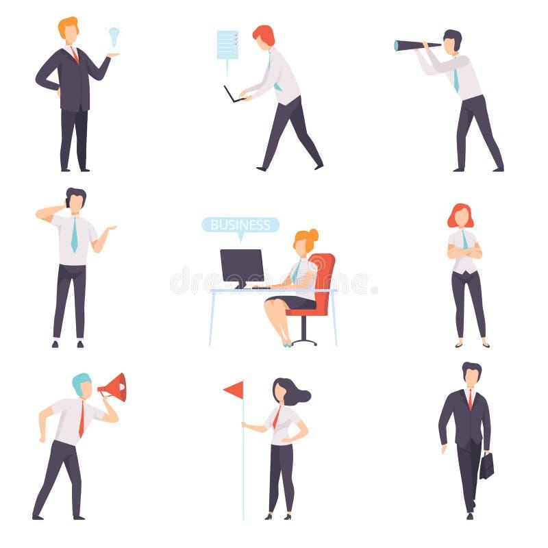 商人和女实业家集合,成功的企业字符在工作在办公室导航在白色的例证 向量例证
