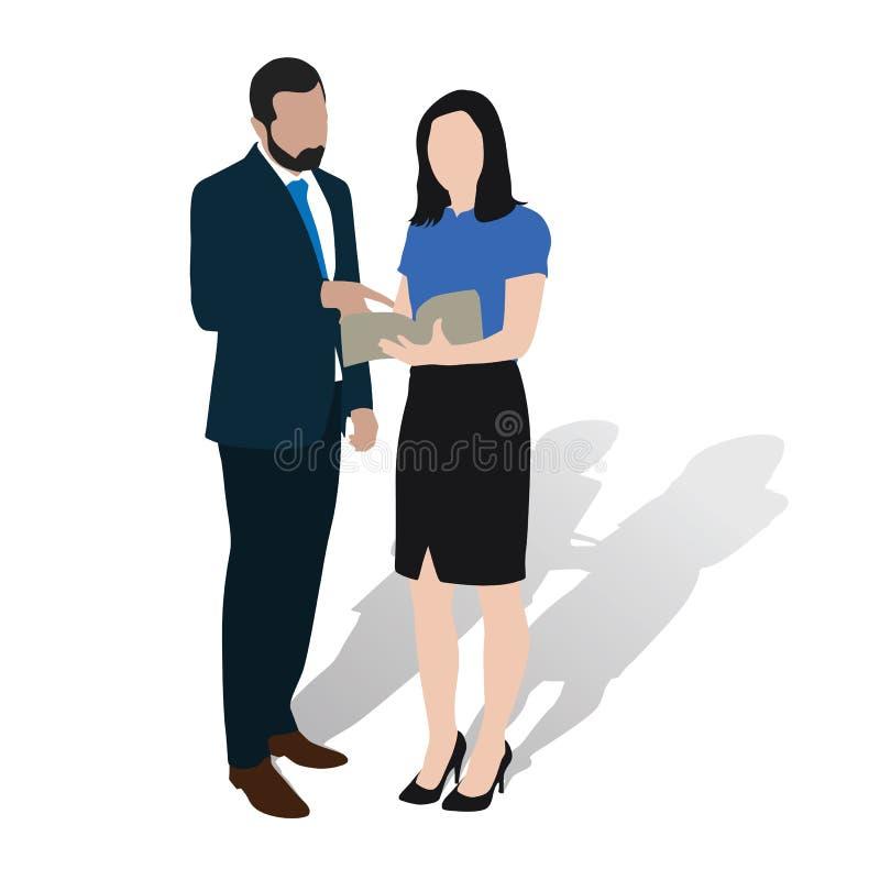 商人和妇女咨询在书 向量例证
