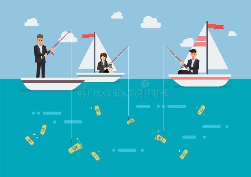 商人和妇女渔金钱 向量例证
