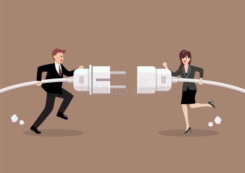 商人和妇女连接的举行插座和出口在手中 向量例证