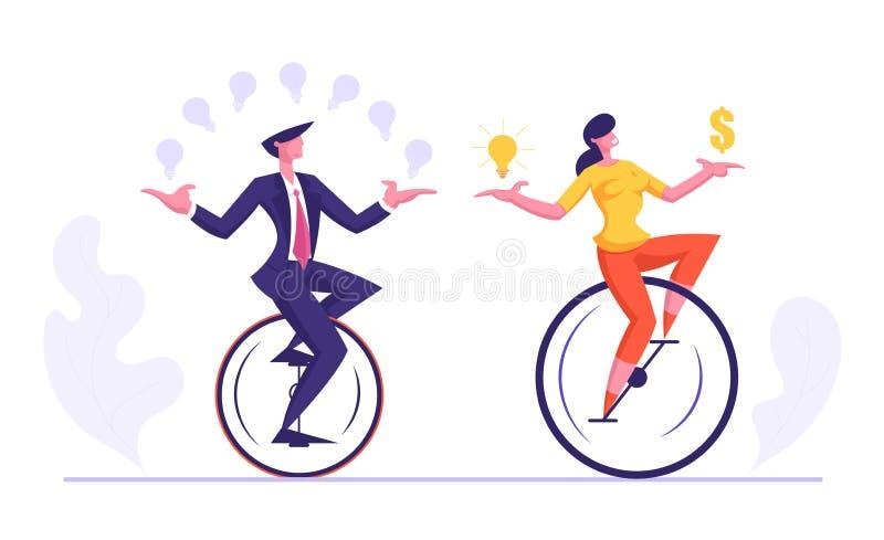商人和妇女骑马玩杂耍与发光的电灯泡的Monowheel,拿着美元的符号 买卖人 向量例证