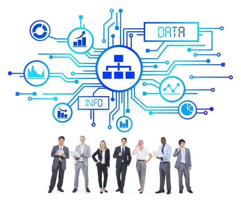 商人和数据概念 免版税库存照片
