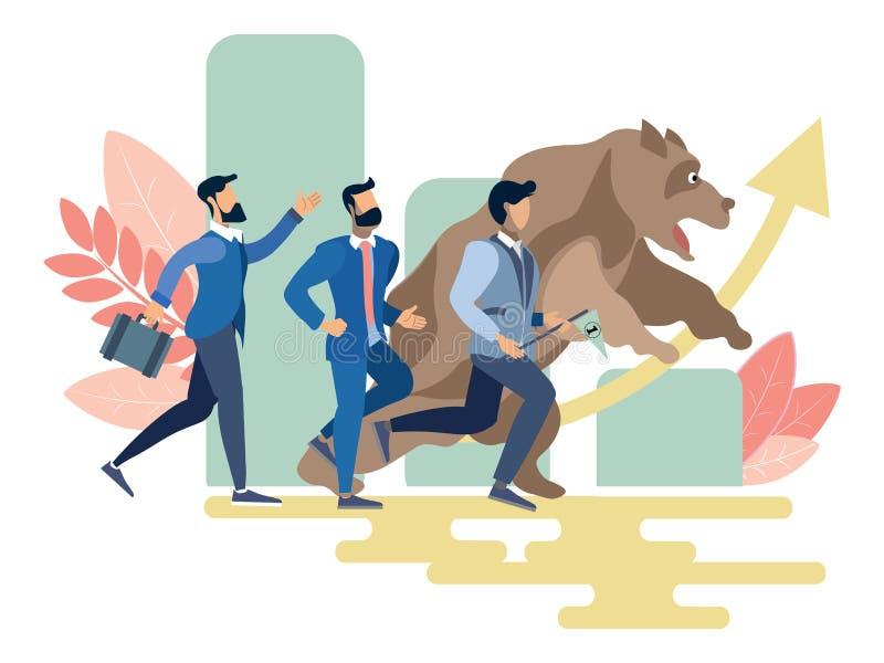 商人和熊奔跑竞争传染媒介 向量例证