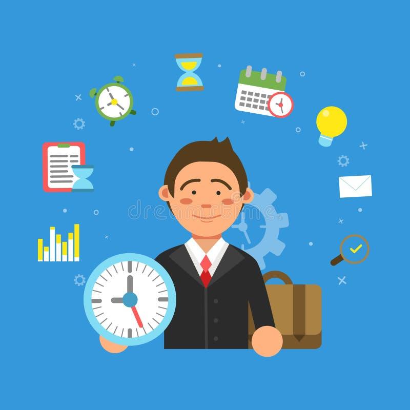 商人和生产力和时间安排的不同的标志 向量例证