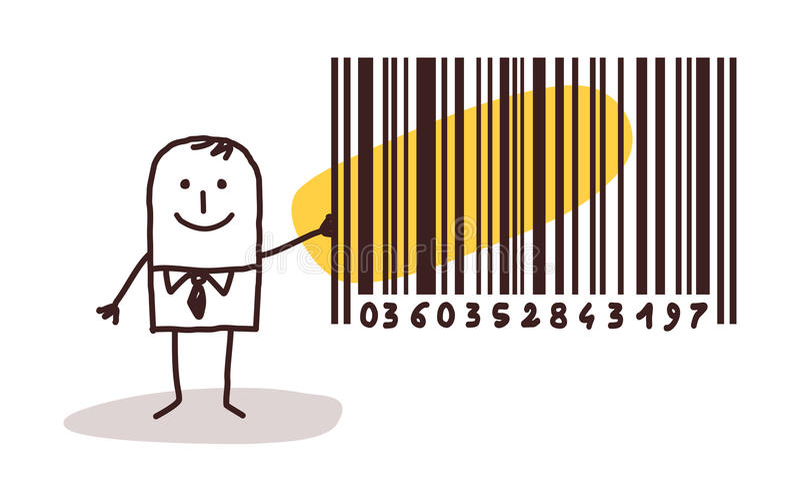 商人和计算机条码 库存例证