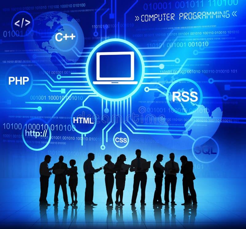 商人和计算机编程概念 图库摄影