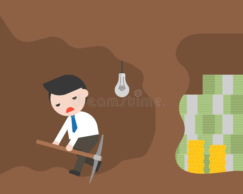 商人和镐为金钱采矿,失败busine放弃 向量例证