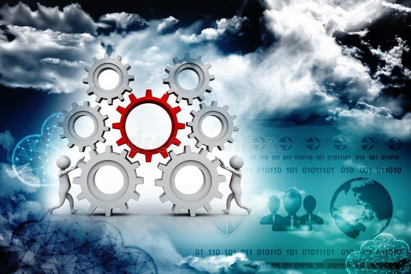 商人和齿轮机构,队工作概念 3d回报 库存例证