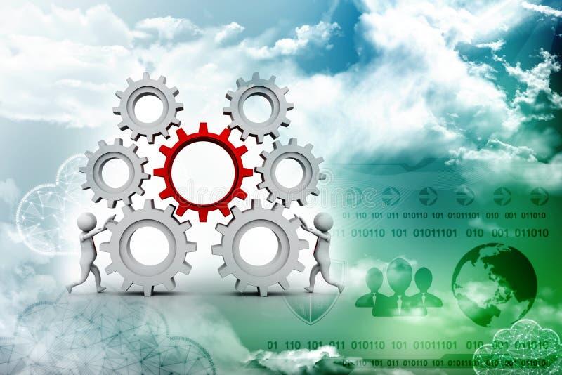 商人和齿轮机构,队工作概念 3d回报 向量例证