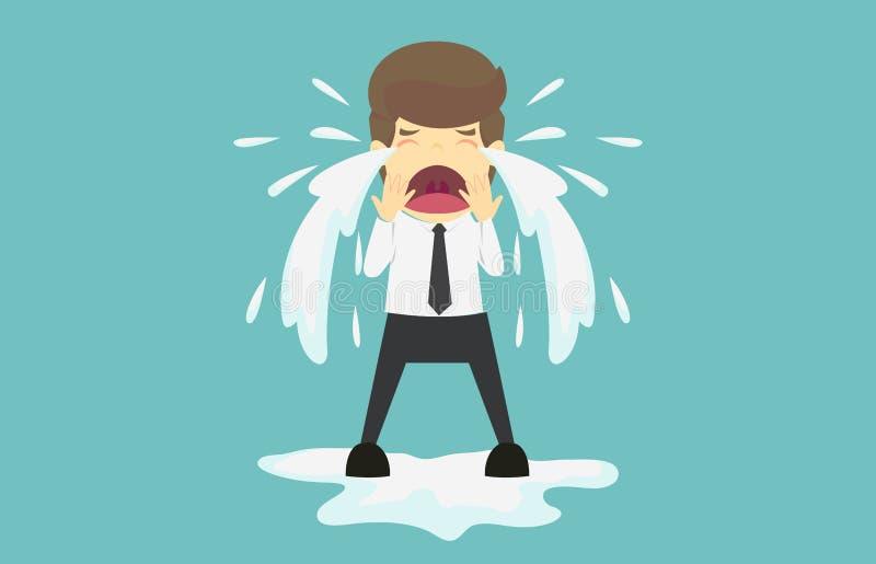 商人哭泣哀伤 企业失败动画片是概念o 库存例证