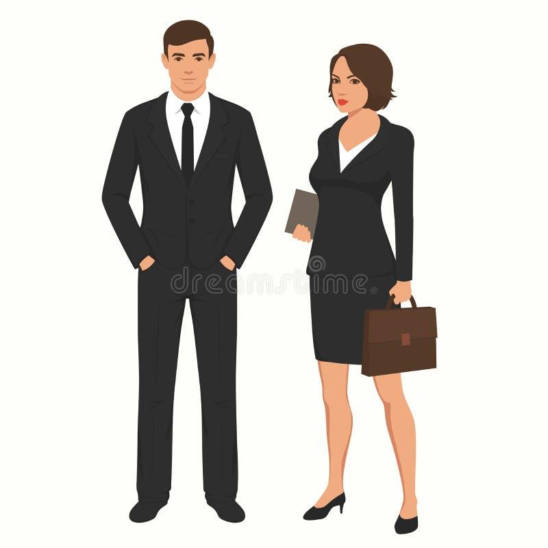 商人商人和女实业家 人,妇女常设字符, 向量例证