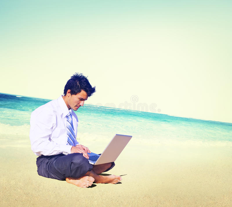 商人商务旅游运作的海滩概念 免版税图库摄影