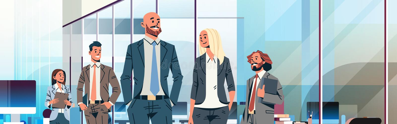 商人团队负责人领导概念商人妇女现代办公室内部男女漫画人物 库存例证