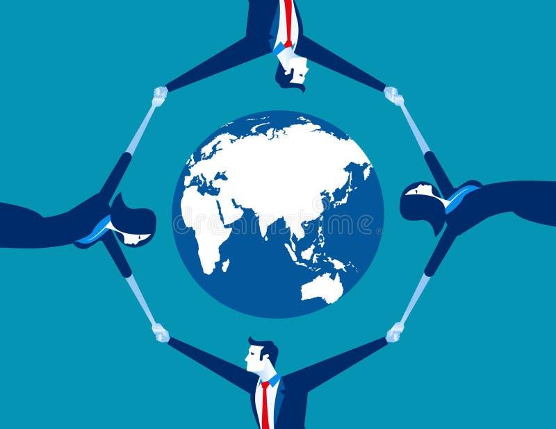 商人围拢的世界地球 概念事务ve 皇族释放例证