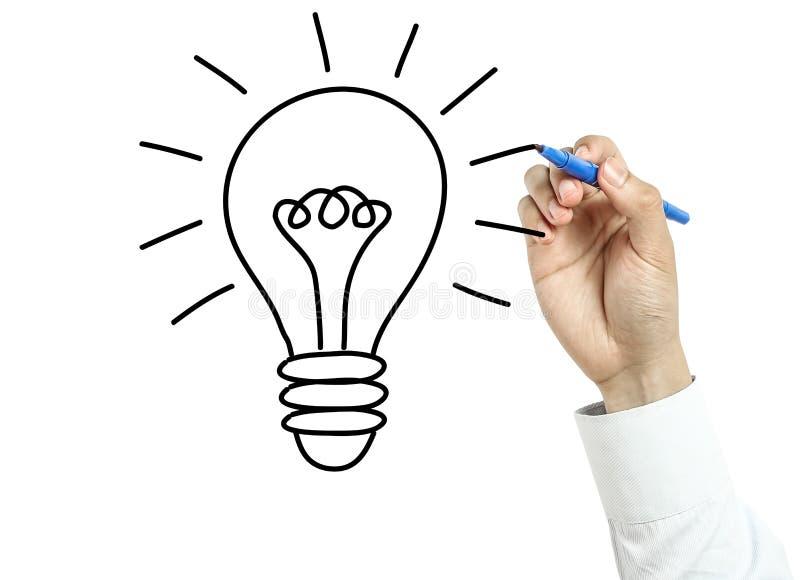 商人图画电灯泡想法概念 库存图片