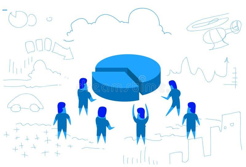 商人圈子图财务分析群策群力战略水平的剪影乱画的概念配合 皇族释放例证