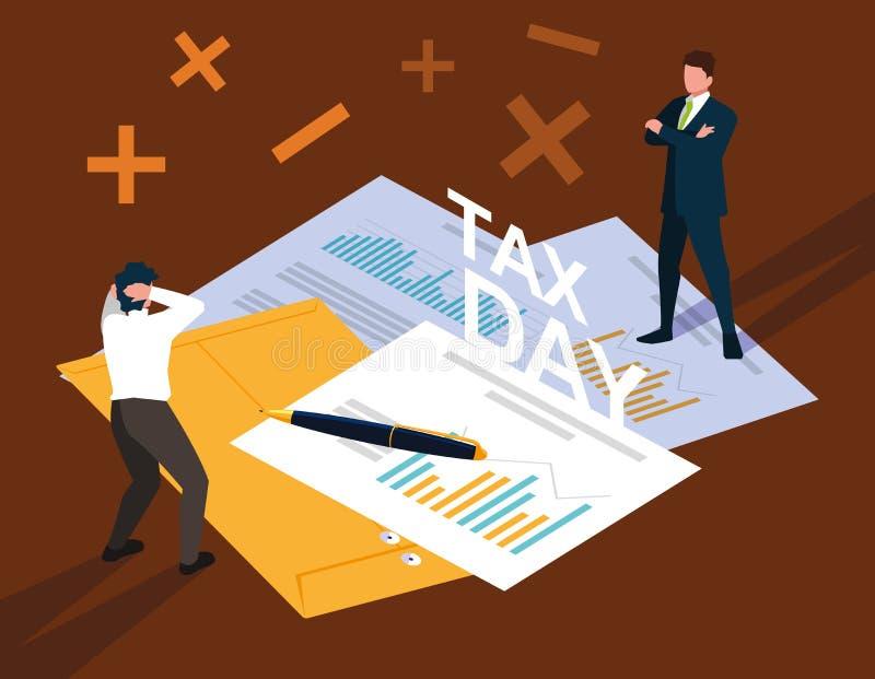 商人在与统计文件和象的税天 库存例证