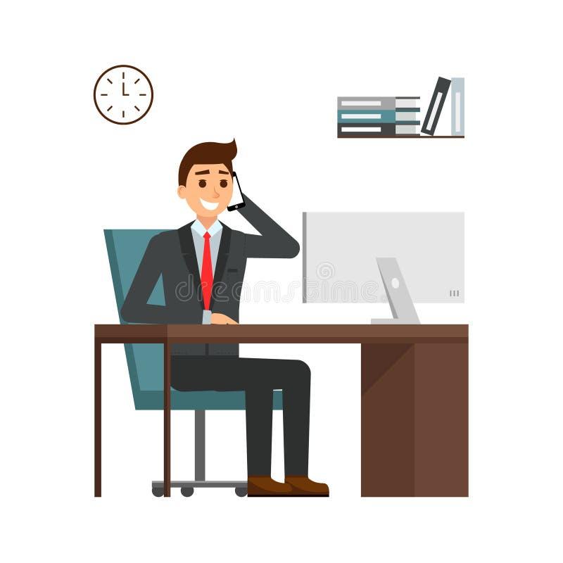 商人在书桌在明亮的办公室,谈话坐手机和微笑 动画片在衣服的人字符 向量例证