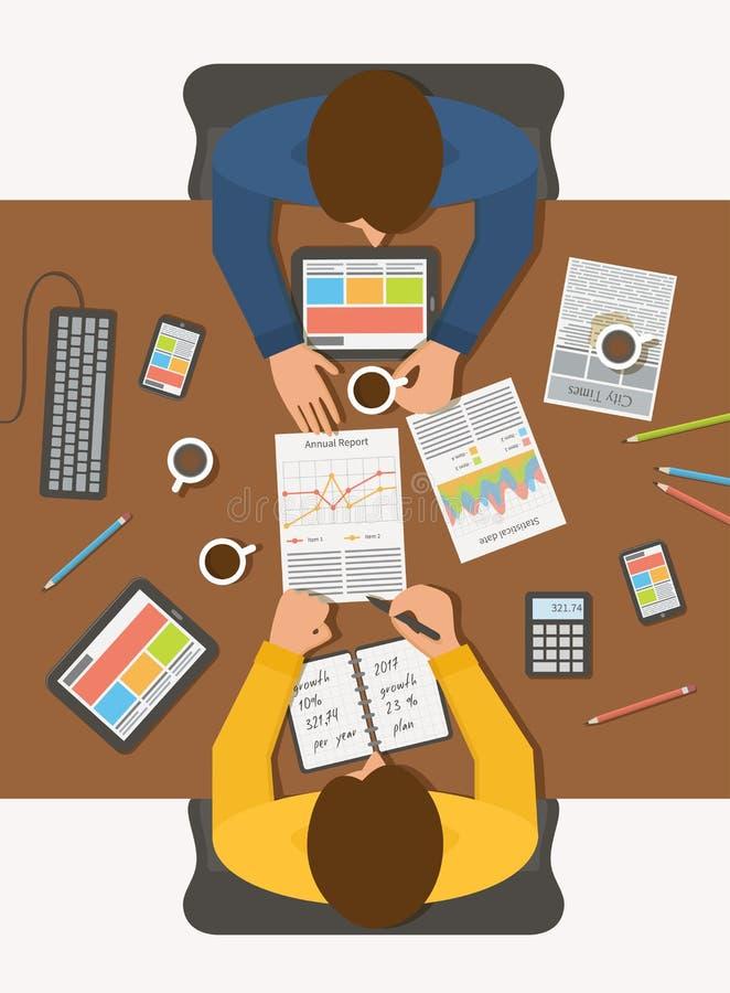 商人在会议上,顶视图工作场所 向量例证