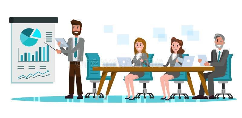 商人在会议室 项目的商人介绍 库存例证