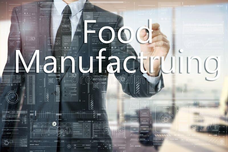 商人在办公室在透明委员会书写:食物制造业 库存照片