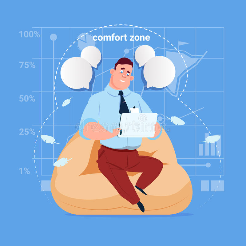 商人在办公室用途片剂计算机媒介社会网络通信商人的舒适范围坐 库存例证