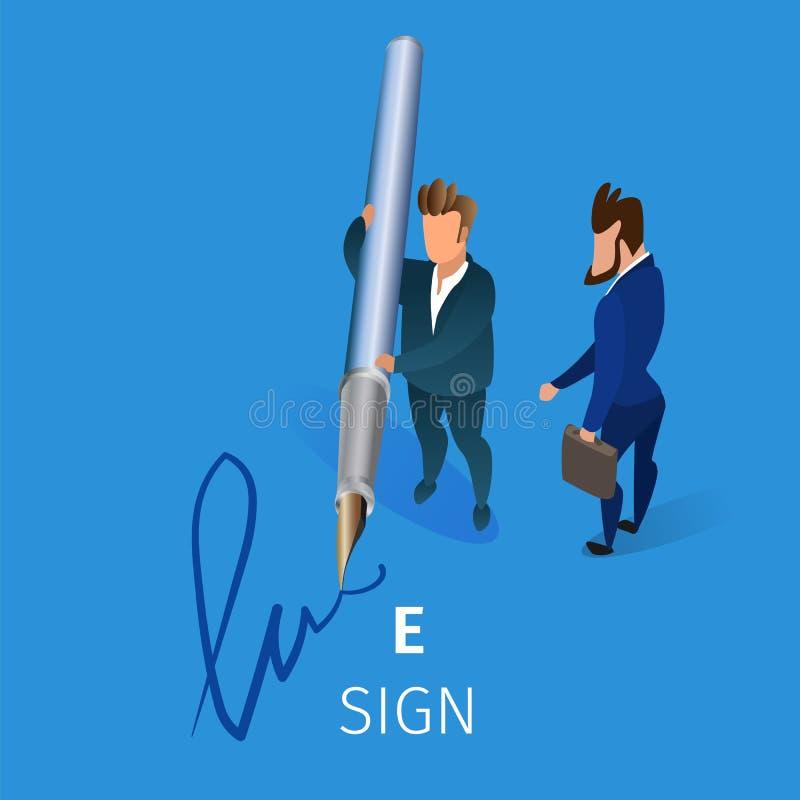 商人在合同上把电子署名放 皇族释放例证