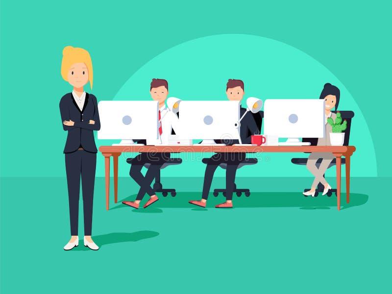 商人在坐在与膝上型计算机的桌上的会议 向量例证