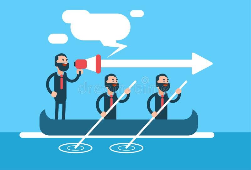 商人在小船配合领导概念的小组队 皇族释放例证