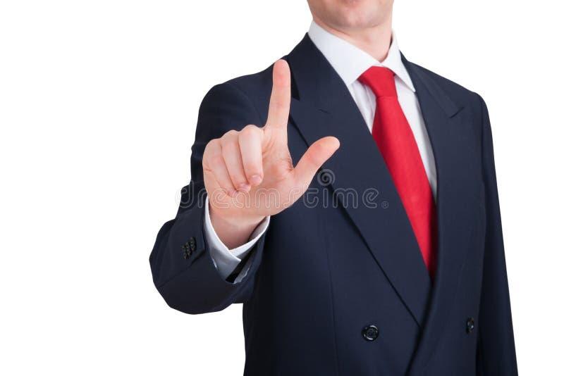 商人在您的点手指 免版税库存图片