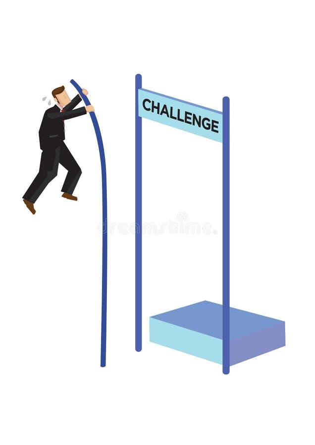 商人在挑战的撑竿跳高 处理危急办法、储蓄崩溃或者破产的概念 库存例证