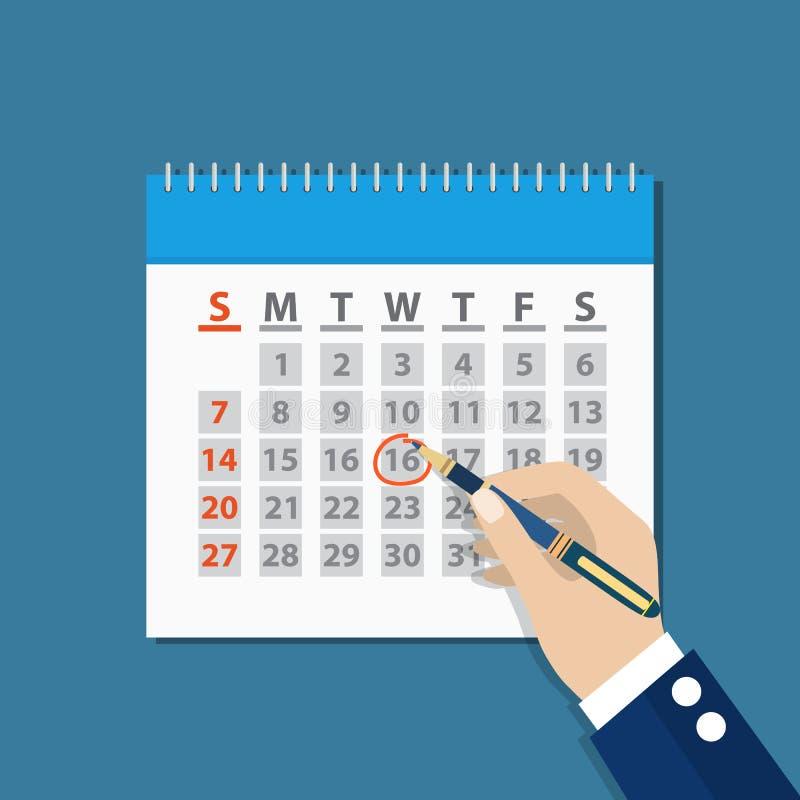 商人在日历的手标记由笔 库存例证