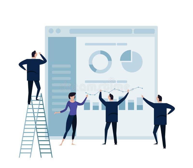商人在显示器和人事务的逻辑分析方法图表合作运作的概念 皇族释放例证