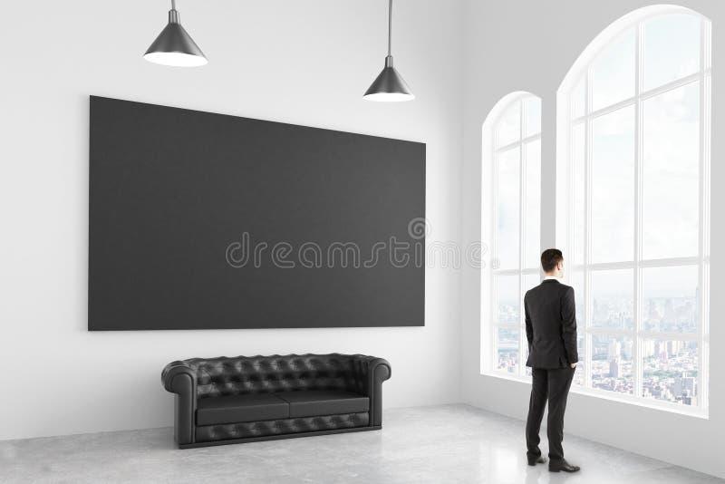 商人在有切斯特菲尔德的沙发的现代白光室 向量例证