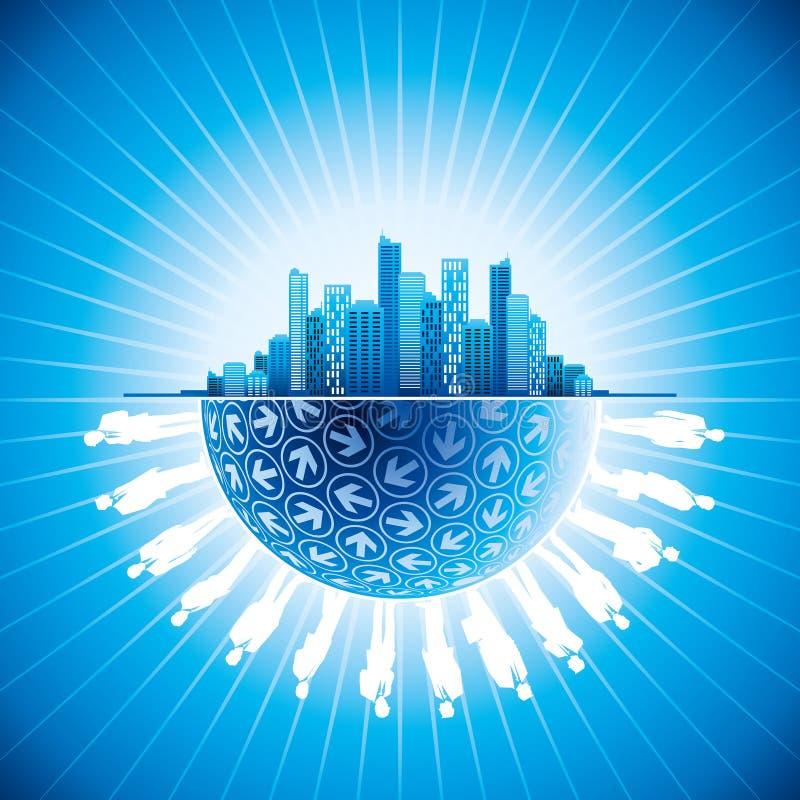 商人在有地球的城市合作 向量例证