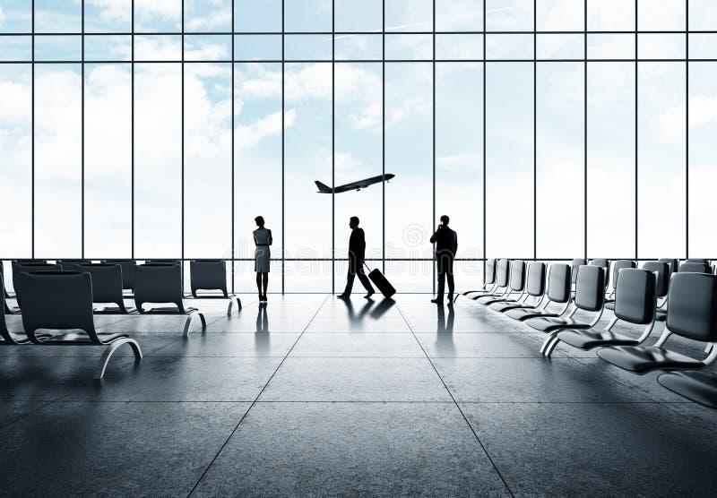 商人在机场 免版税库存照片