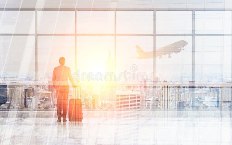 商人在机场 免版税图库摄影