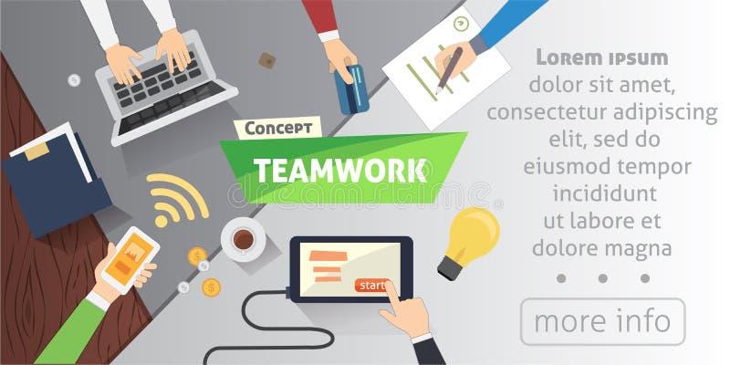 商人在现代办公室合作场面配合 商人工作在桌里的小组 平的设计样式传染媒介 向量例证