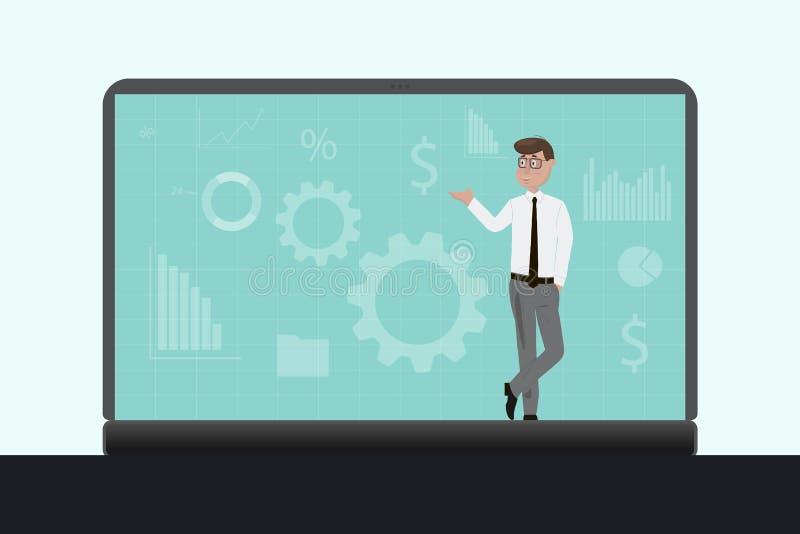 商人在膝上型计算机站立 工作在有财政图bitcoin的股票市场上的商人在工作场所 库存例证