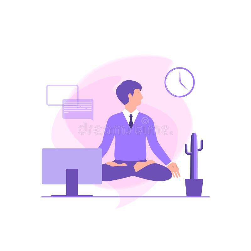 商人在莲花坐思考在工作场所 安静姿势,心理平衡,和谐,灵性能量,身体exerci 库存例证