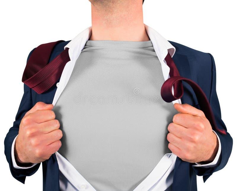 商人在超级英雄样式的开头衬衣 免版税库存照片