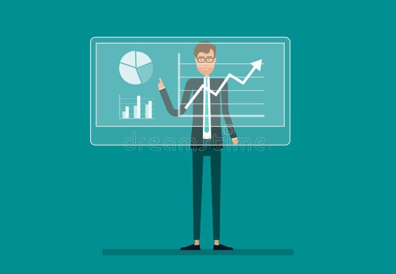 商人在财政报告图表利润增长分析 向量例证