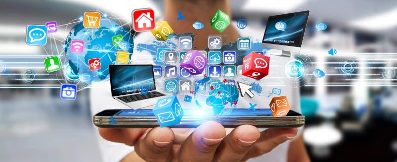 多媒体技术垹�`:)^X�_商人在他的手上的拿着多媒体技术设备
