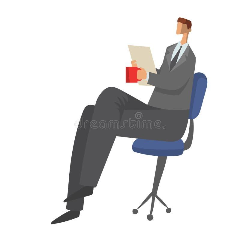 商人坐与纸张文件的一把椅子在他的手上和饮用的茶或者咖啡 字符传染媒介 向量例证