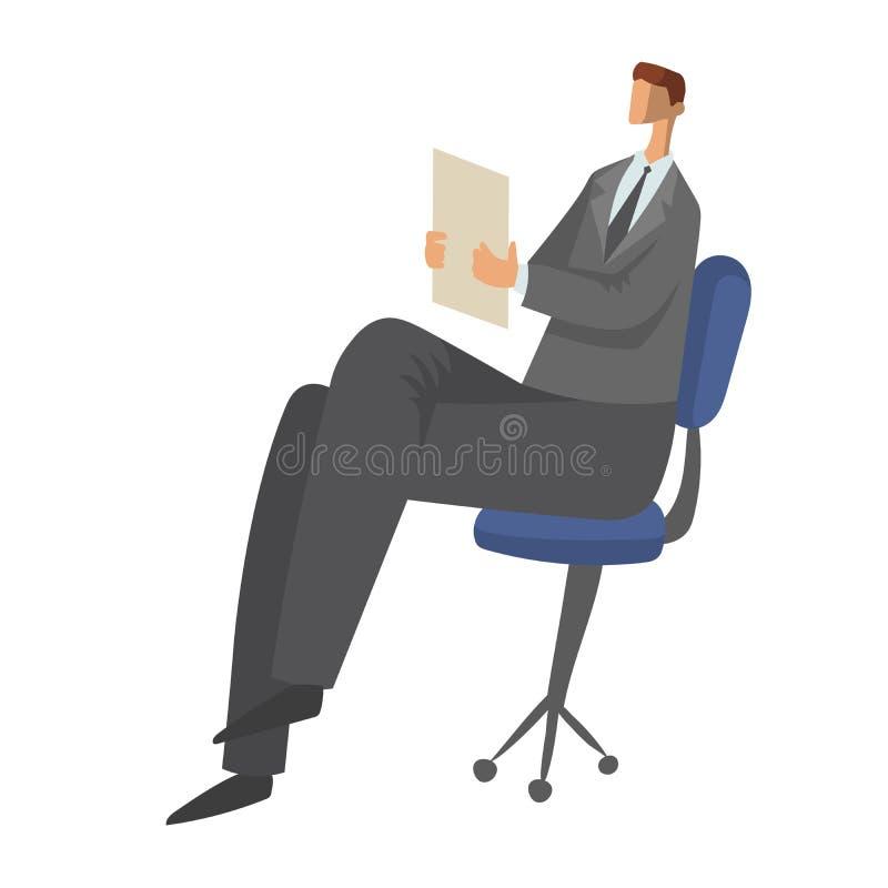 商人坐与纸张文件的一把椅子在他的手上 字符在白色隔绝的传染媒介例证 向量例证