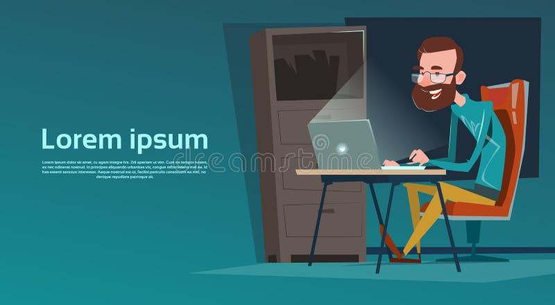 商人坐的书写工作便携式计算机 皇族释放例证